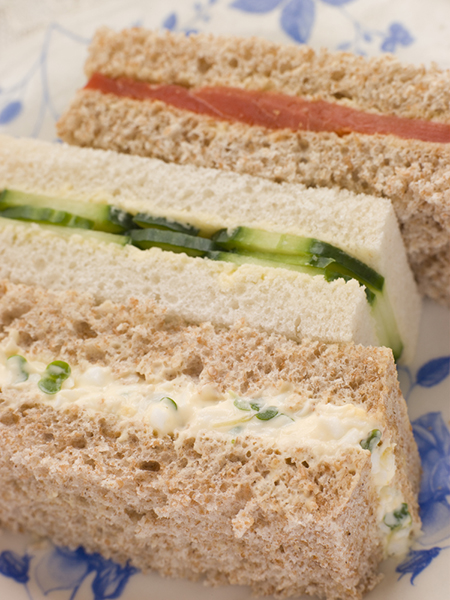 Afternoon Tea Finger Sandwiches- Egg and Cress Smoked Salmon and