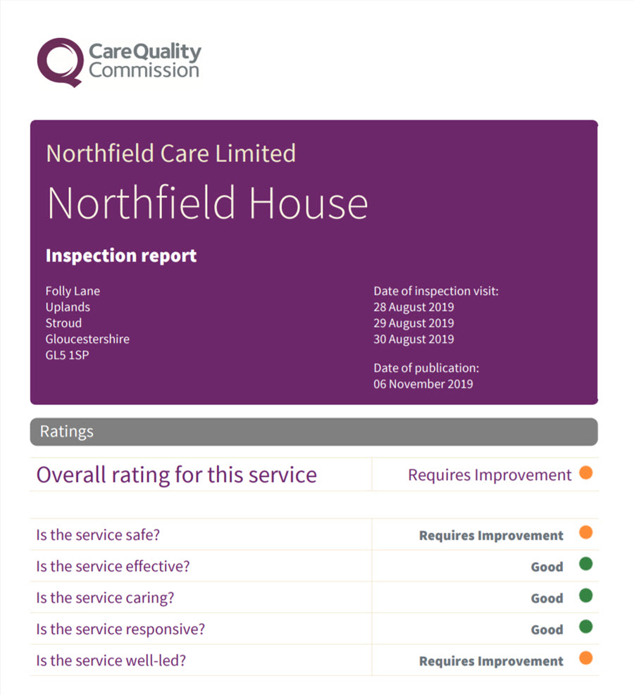 Northfield House CQC report 2019